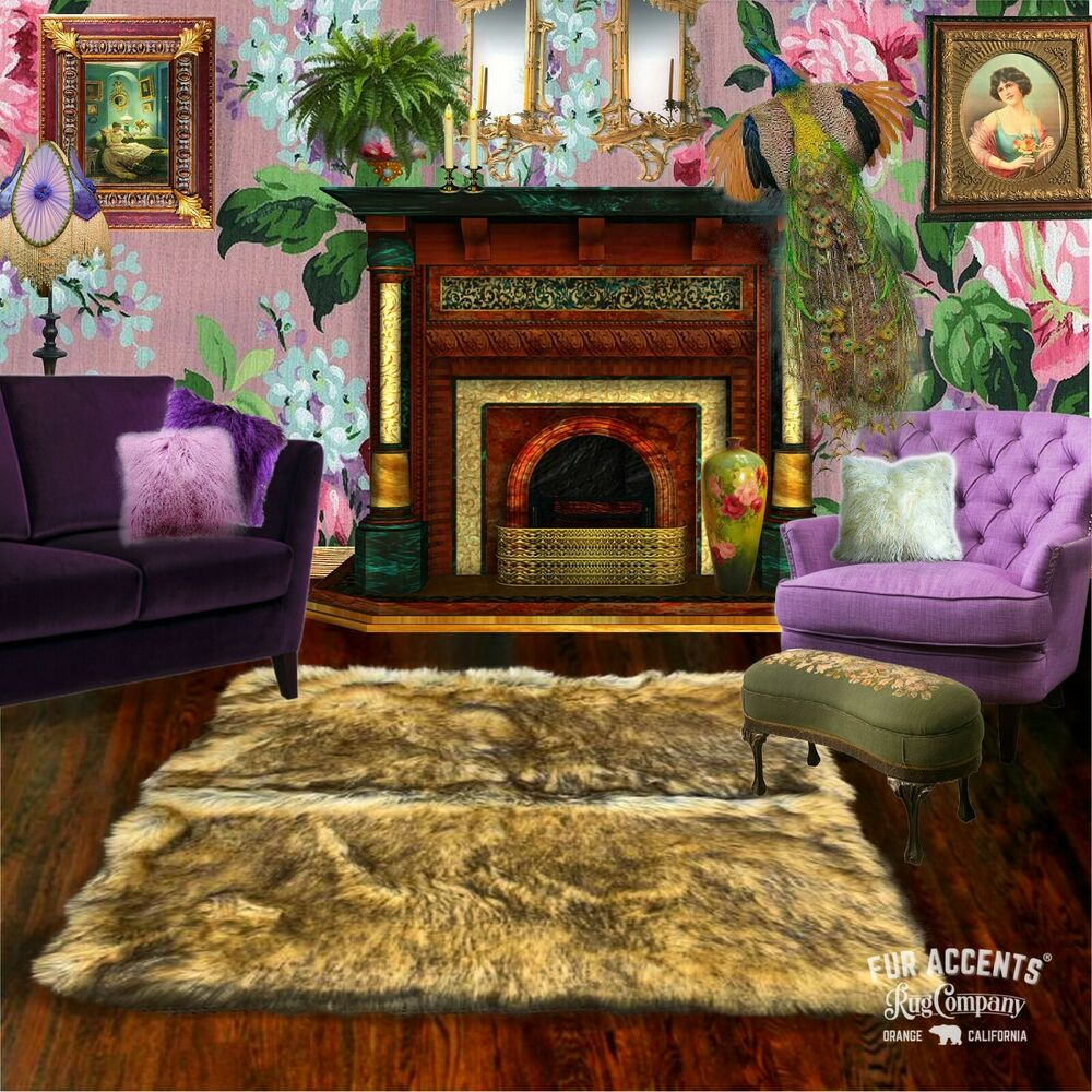 Faux Wolf Skin Accent Pelt Rug Coyote Throw Rectangle