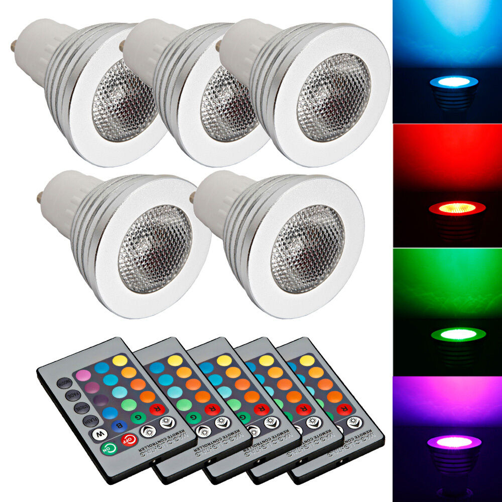 New Lot5 Gu10 5w 85 265v Led Rgb Bulb Lamp Light Remote Control Color Changing Ebay