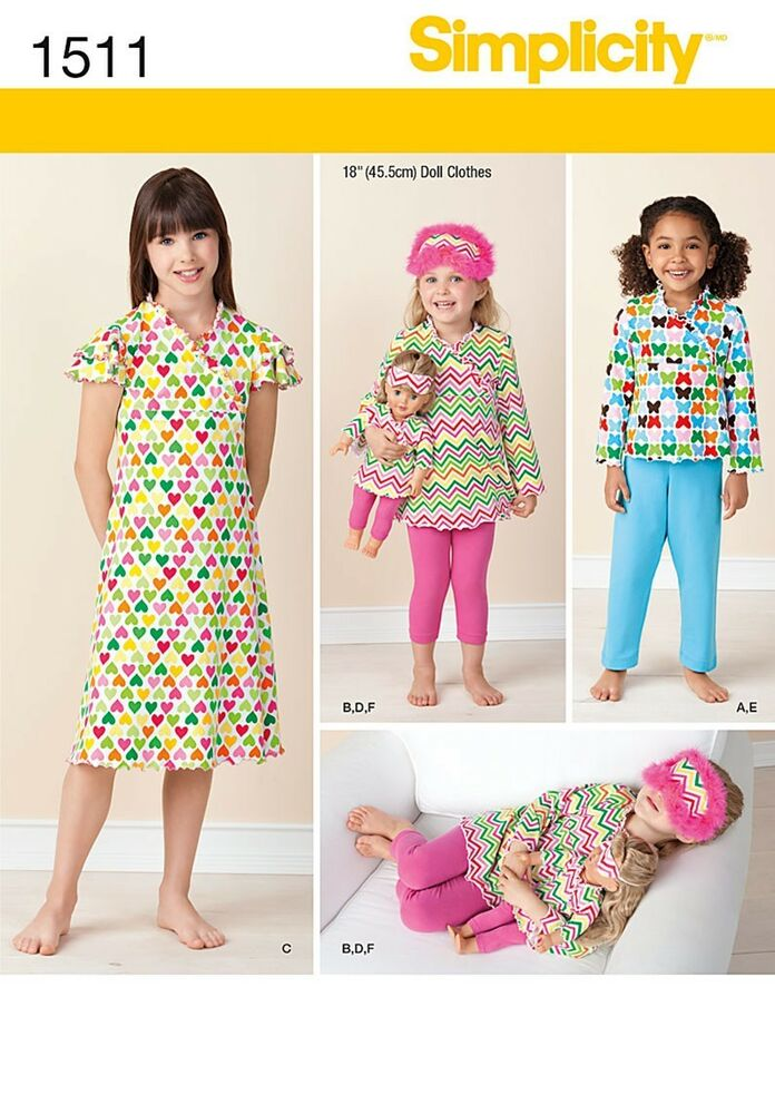 "... 1511 Child and 18"" Doll Matching Loungewear Clothes Pajamas 