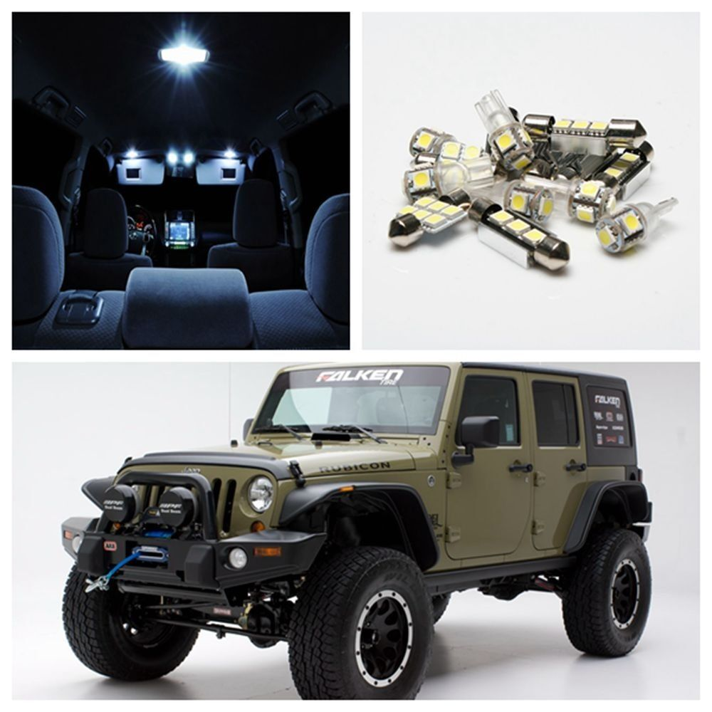 5 X Xenon White Car Interior Led Lights Package Kit For 2007 2013 Jeep Wrangler Ebay
