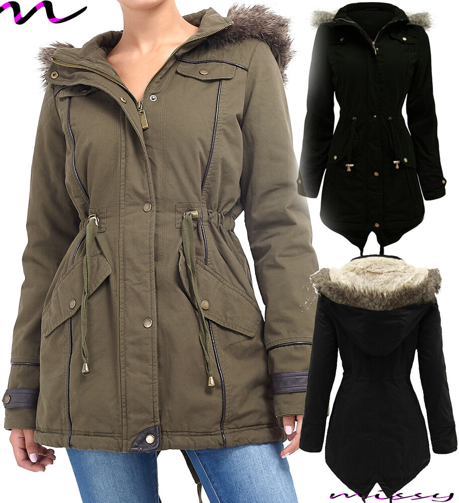 NEW Womens LADIES PARKA JACKET Quilted PU Sleeves WINTER COAT ...