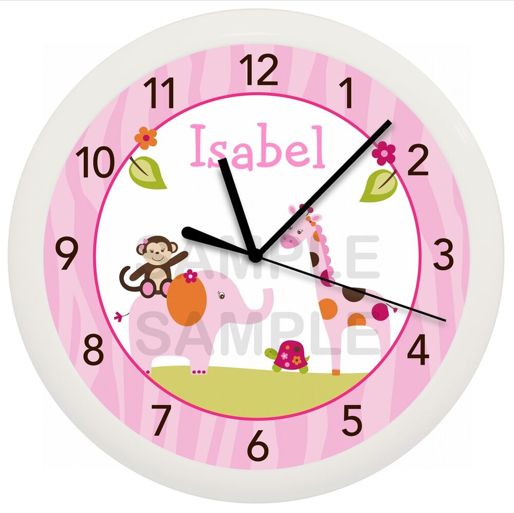 Details About Pink Safari Nursery Wall Clock Sweet Personalized Baby Shower Gift