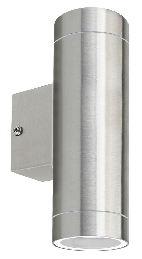 Double Metal Wall Lights : Twin Stainless Steel Double Wall Light IP65 Up Down Outdoor Wall Light eBay