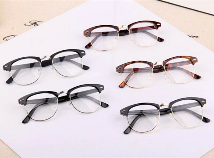 Rimless Geek Glasses : Fashion Semi-Rimless Half Metal Frame Clear Lens Glasses ...
