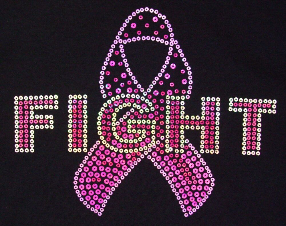 breast cancer awareness pink rhinestone silvertone breast cancer awareness pink ribbon quot fight quot black tshirt