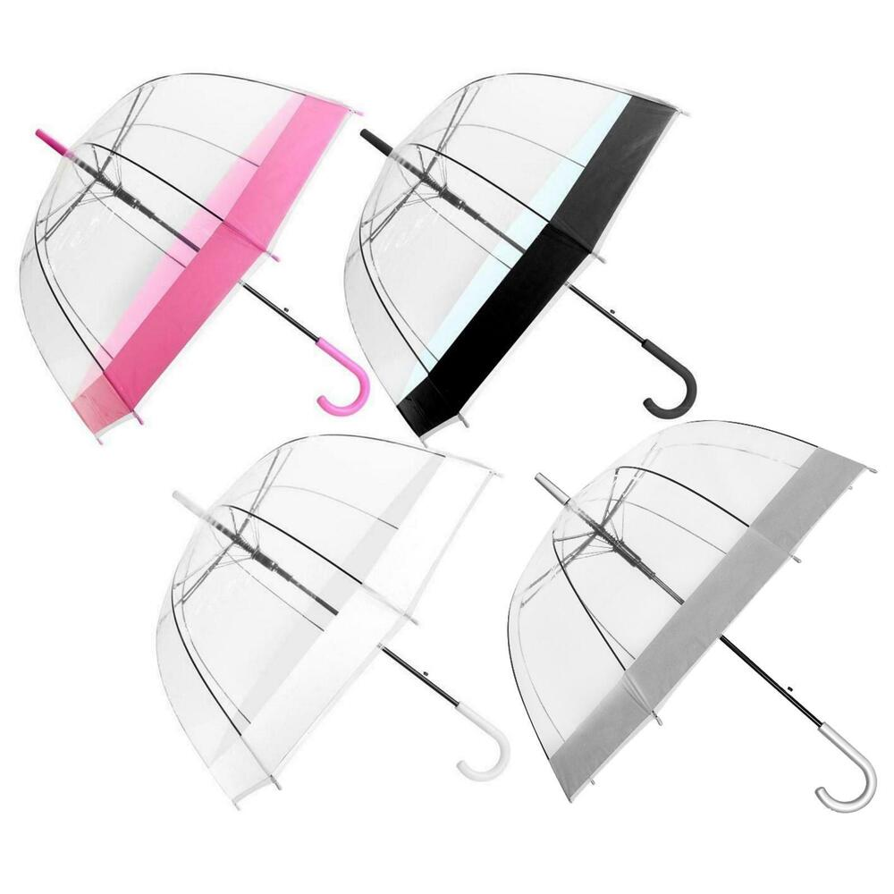 "Large 31"" Clear See Through Dome Umbrella Ladies ..."