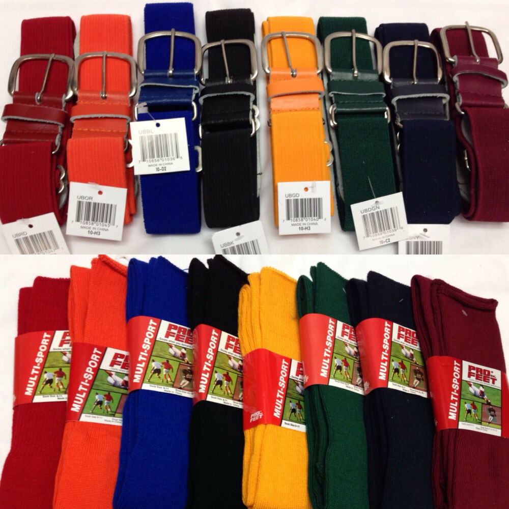 Baseball Softball Belt and Athletic Sock Combo Youth Women ...