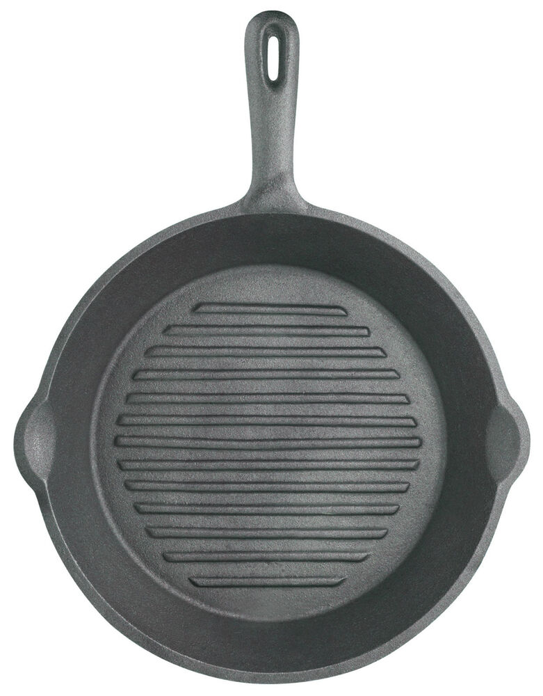 kitchencraft cast iron round grill pan with ribbed base. Black Bedroom Furniture Sets. Home Design Ideas