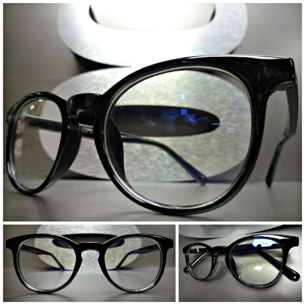Vintage Black Frame Glasses : Men Women CLASSIC VINTAGE RETRO Style Clear Lens EYE ...
