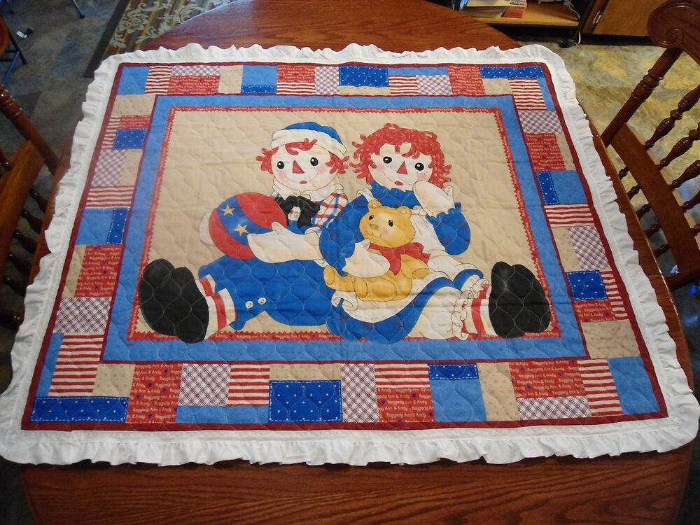Raggedy Ann And Andy Handmade Baby Quilt Vintage White