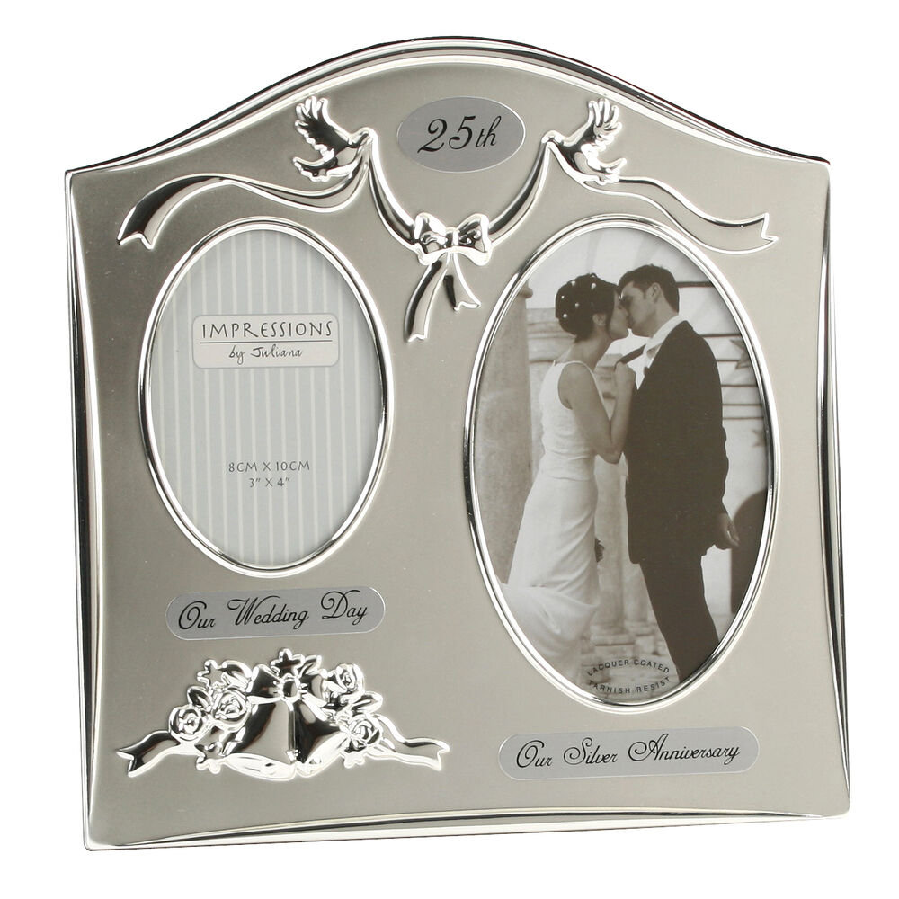 Gift For 25 Wedding Anniversary: 25th Silver Wedding Anniversary Silver Plated Double Photo