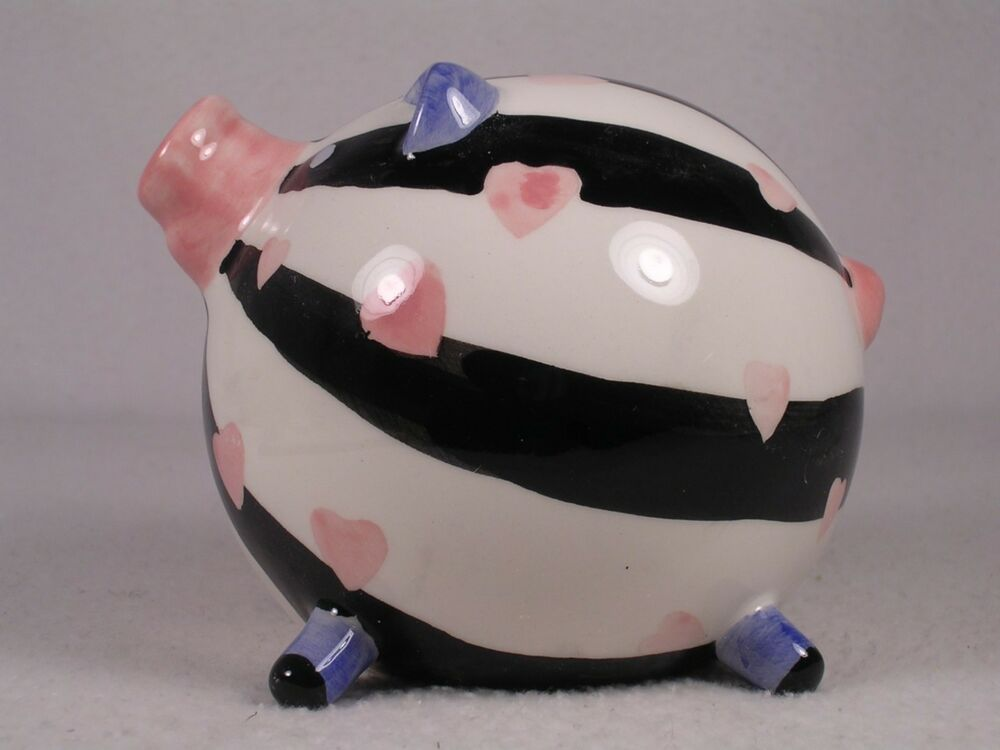 New enesco mini ceramic pig piggy bank black white for Mini piggy banks