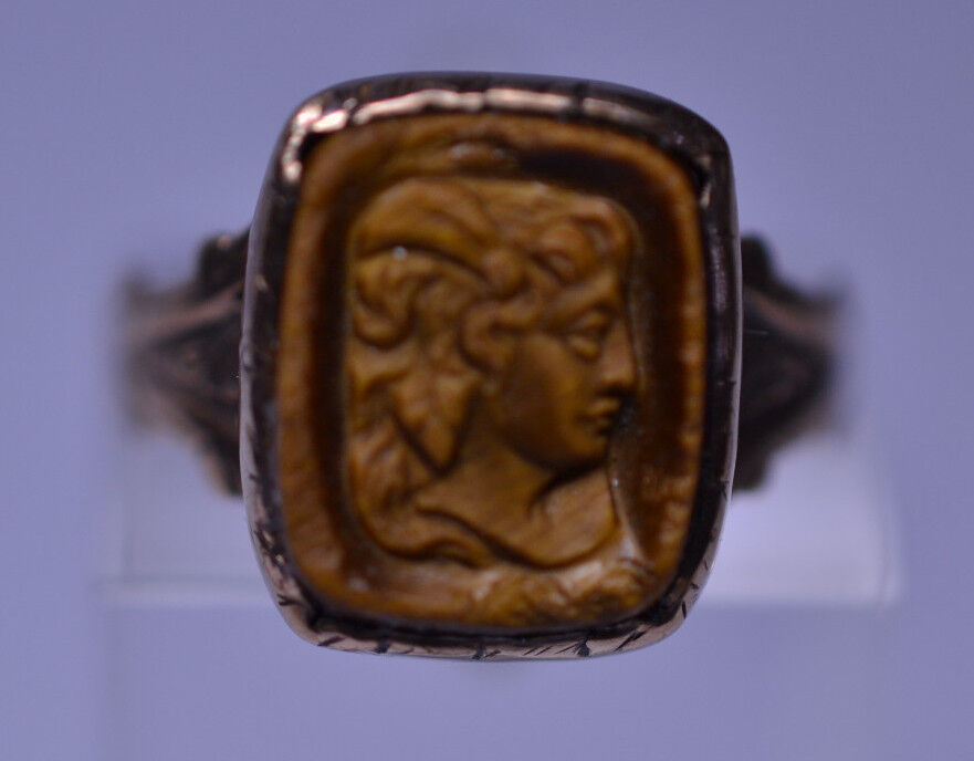 Antique Victorian 10k Yellow Gold Carved Tiger Eye Stone