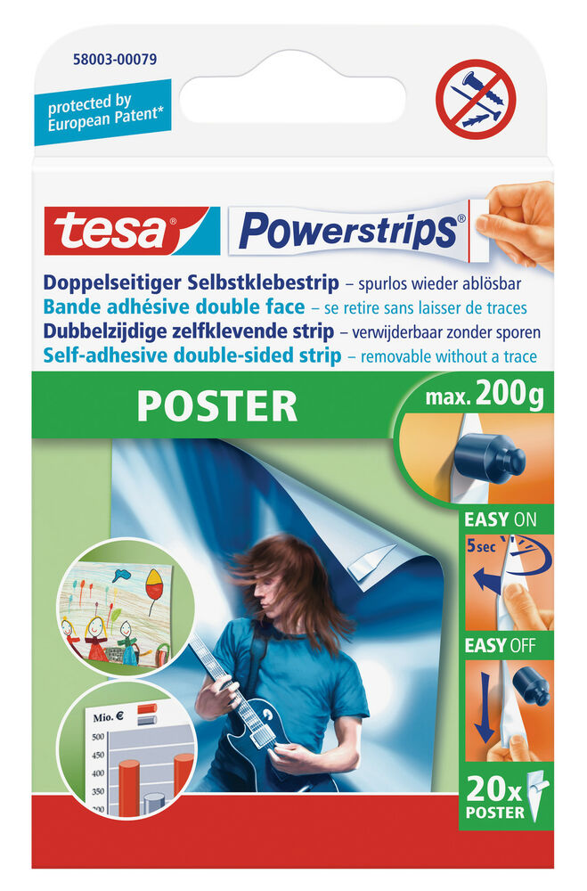 tesa powerstrips poster double sided removable strips ebay. Black Bedroom Furniture Sets. Home Design Ideas