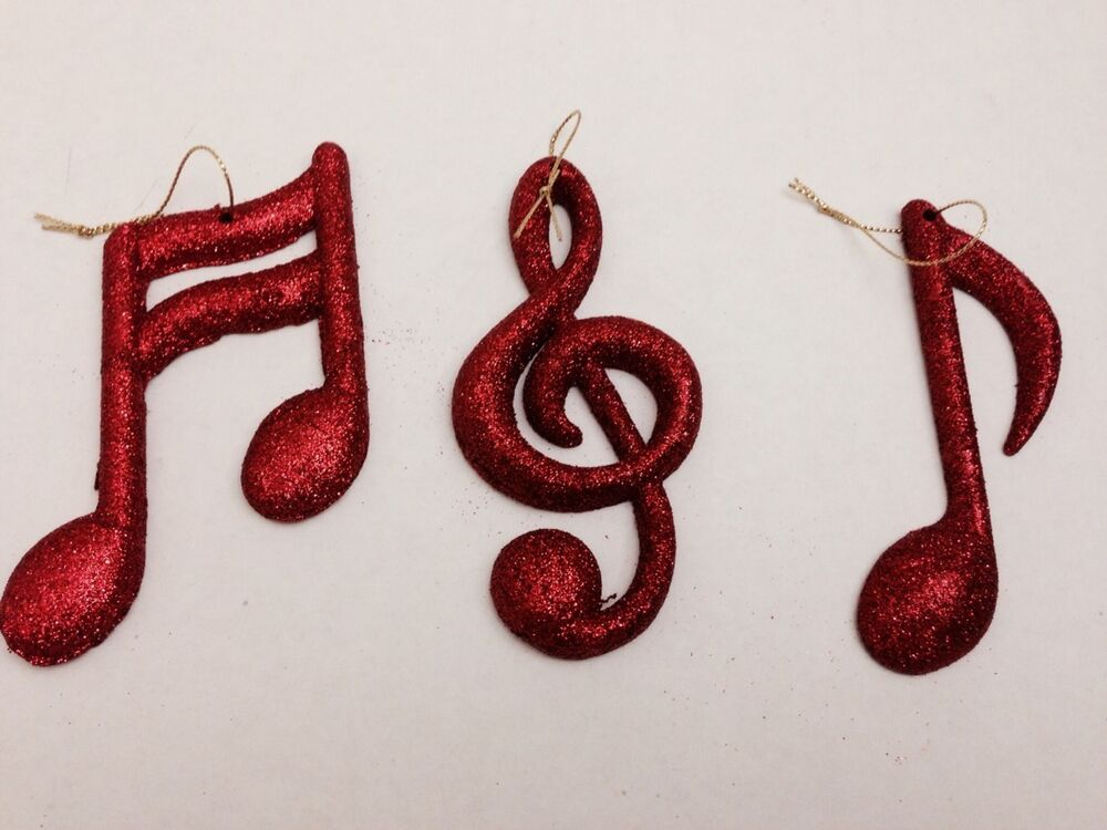 12 pc christmas holiday shatterproof glitter music musical note