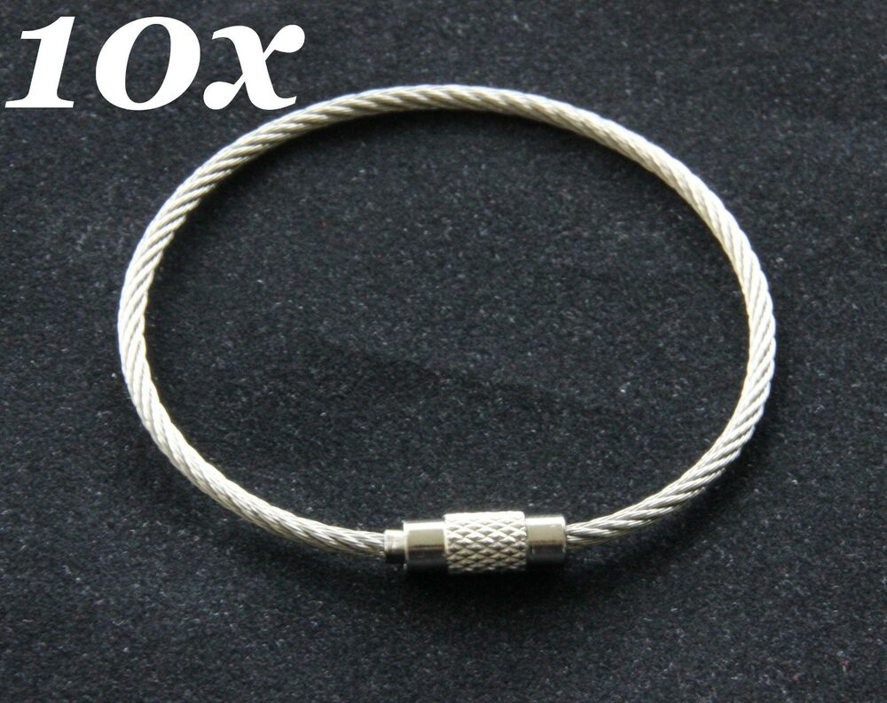 Stainless Steel Cable Wire Key Chain Rings Screw Twist