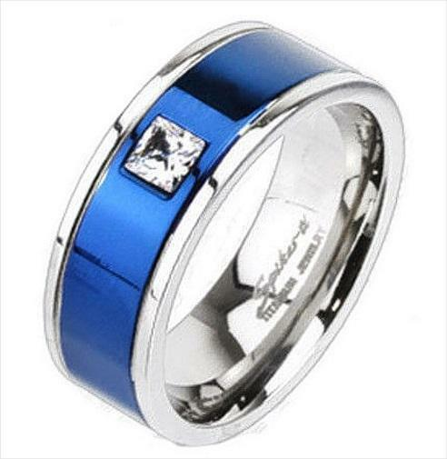 titanium royal blue cubic zirconia mens wedding band ring