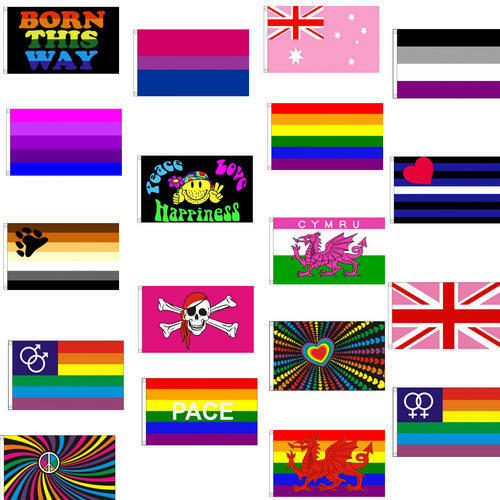 5 X 3 Gay Pride Rainbow Themed Flags With 2 Metal Eyelets - Party Festival  Ebay-3592