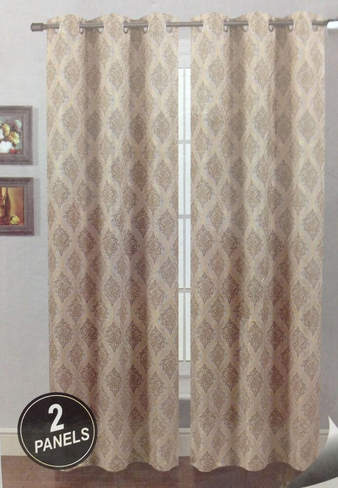 Piece Grommet Panel Printed Window Curtain Luxury Faux Linen drapes ...