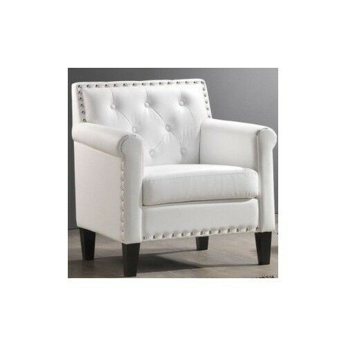 White Leather Chair Arm Living Room Furniture Modern Club Accent Home Office Ebay