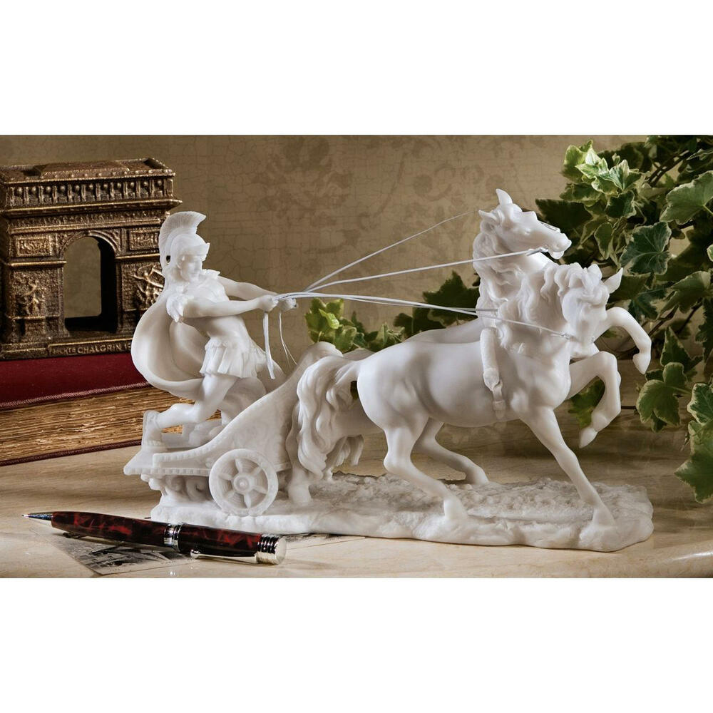 roman warrior chariot charging bonded marble sculpture home gallery statue ebay. Black Bedroom Furniture Sets. Home Design Ideas