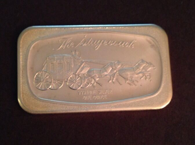 999 Silver Art Bar Vintage Ingot 1 Oz The Stagecoach