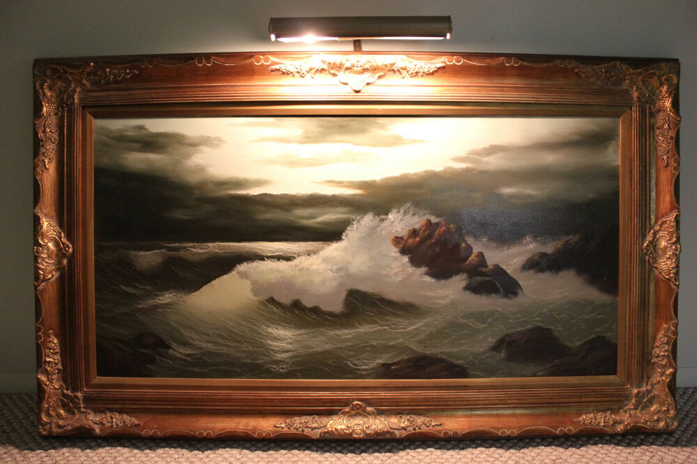 stunning bergamaschi seascape oil on canvas painting w wood frame 36 x 60 ebay. Black Bedroom Furniture Sets. Home Design Ideas