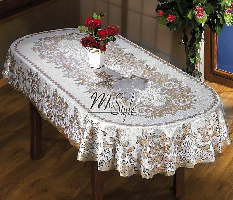 Oval Tablecloth Heavy Lace Natural Golden Beige Large