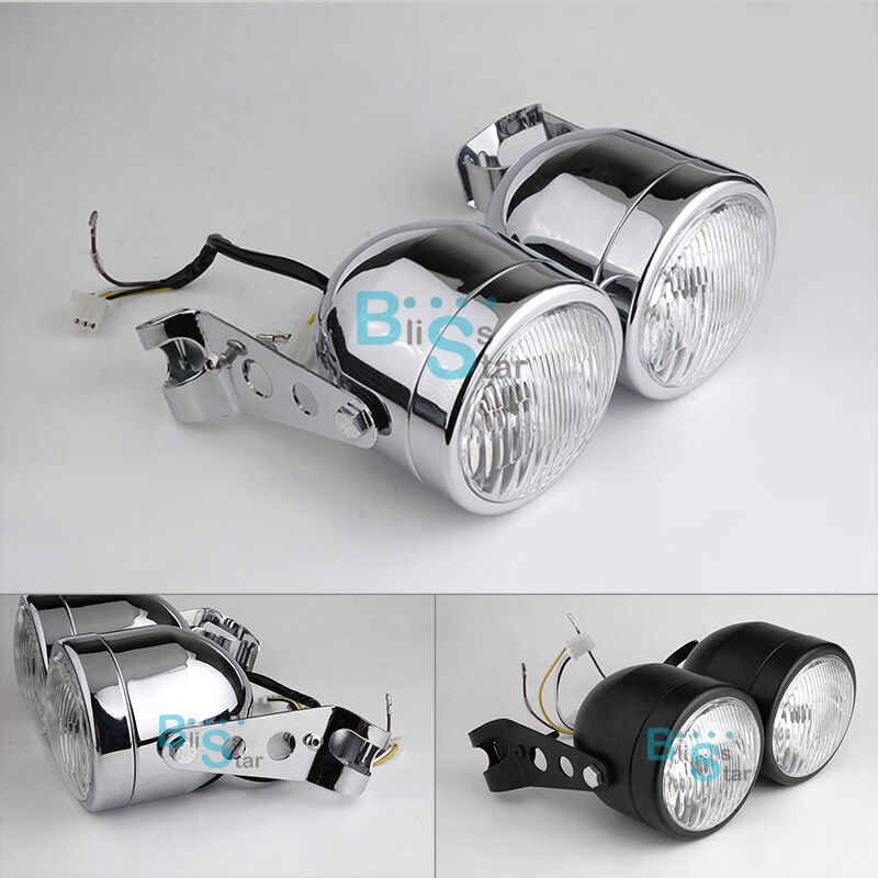 Lesoleil Twin Headlight Motorcycle Round Double Dual Lamp