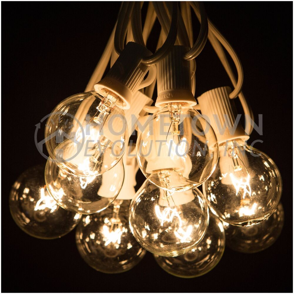 50 Foot Outdoor Globe Party String Lights Set Of 50 G40 Clear Bulbs EBay