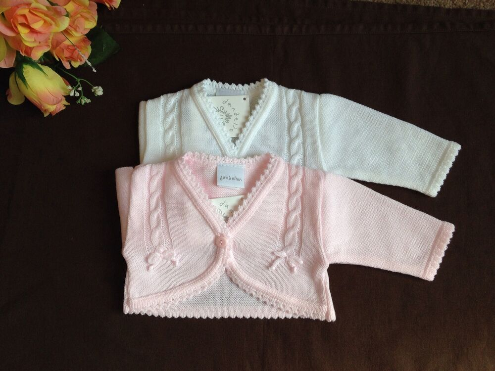 Knitting Pattern Baby Bolero Cardigan : Baby Flower girls Bridesmaid white pink bolero jacket shrug knitted cardigan ...
