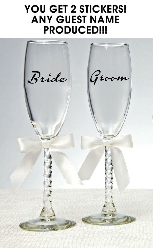 2x Personalised Bride And Groom Wedding Glass Name