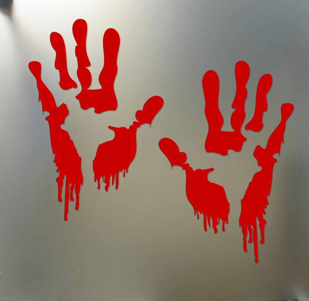 Bloody Zombie Hand Print Sticker Walking Dead Halloween