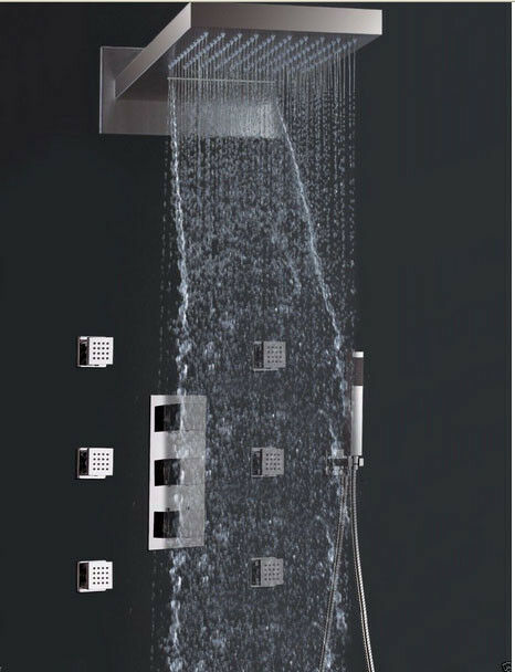 Chrome Waterfall 22 Quot Large Square Shower Head Massage Jets