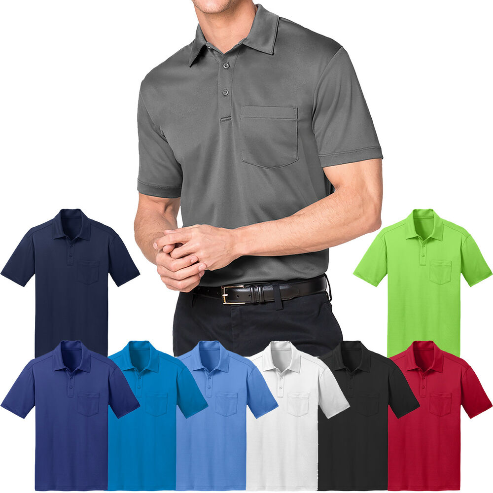 Mens moisture wicking poly performance pocket polo shirt for Mens xs golf shirts