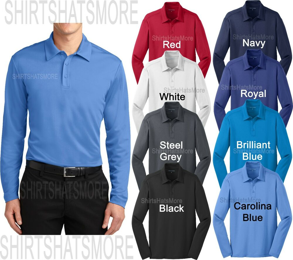 Mens pa moisture wicking performance long sleeve polo for Moisture wicking golf shirts