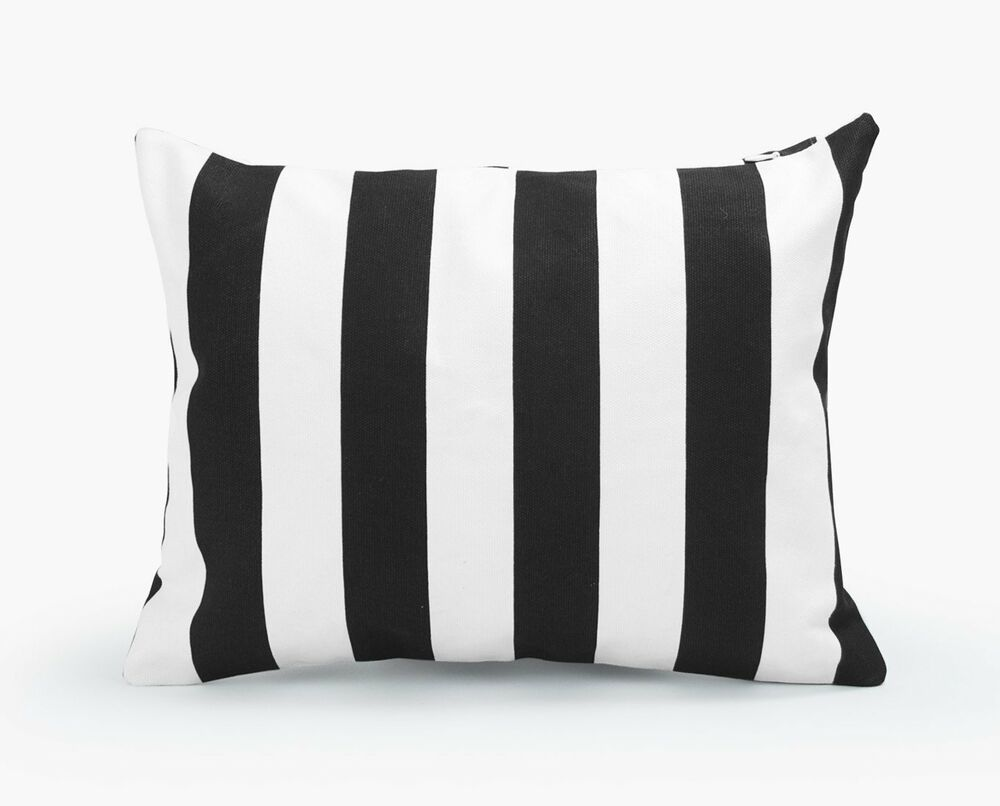 Black And White Decorative Pillow Cases : Decorative Rectangle Throw Pillow Cover Black and White Stripe Toss Cushion Case eBay