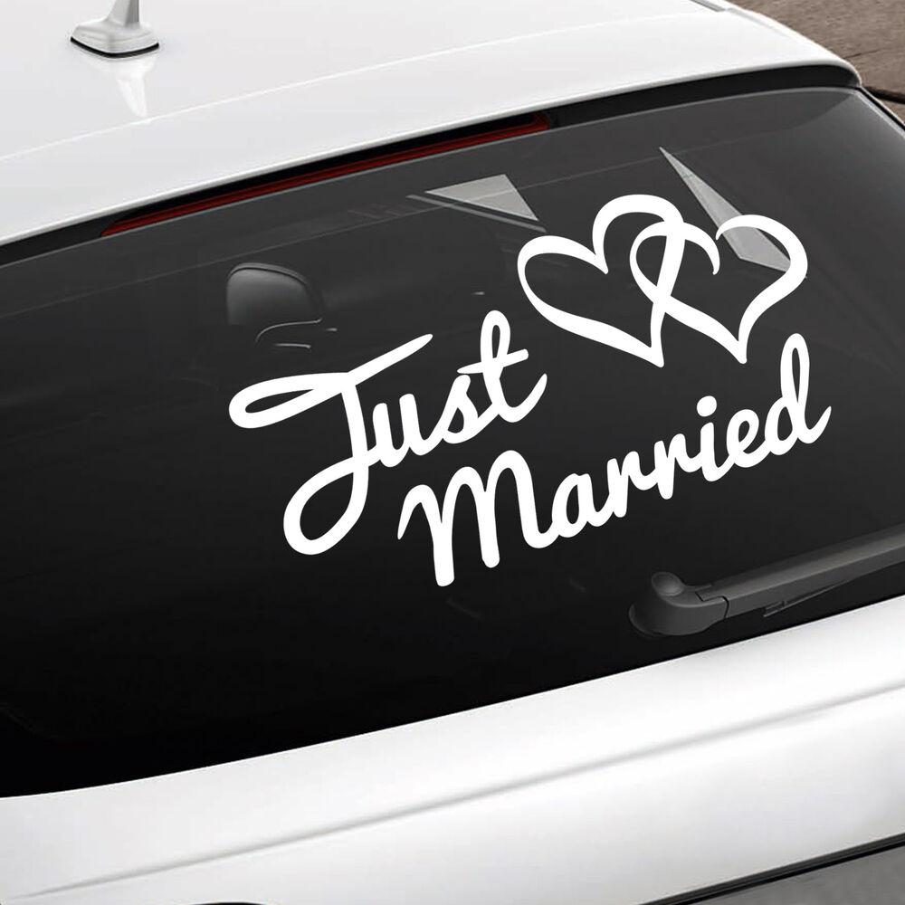 Details about just married car sign wedding car window sticker