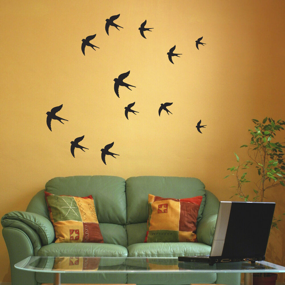 Swallow Wall Stickers - Birds wall decal - Pack of 12 or 24   eBay