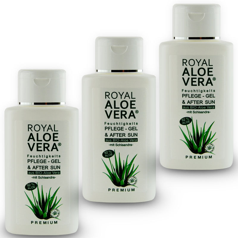3 x royal aloe vera pflege gel after sun shave 92 bio aloe vera schisandra ebay. Black Bedroom Furniture Sets. Home Design Ideas