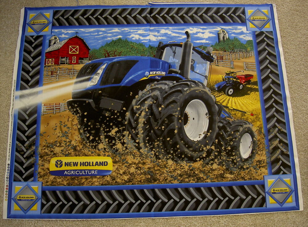 New Holland Tractor Fabric : New holland tractor tractors t farm panel print