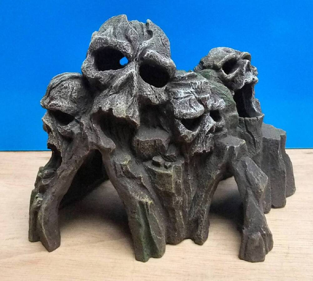 Aquarium ornament skull mountain head tunnel cave fish for Aquarium decoration ornaments