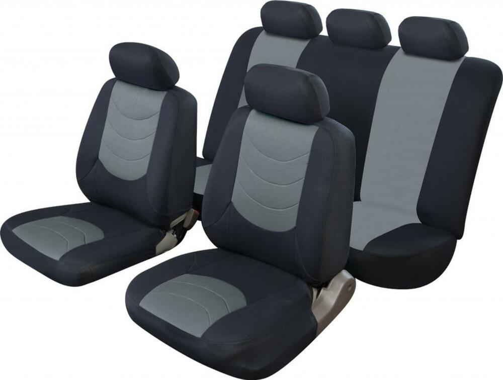 universal car seat cover set leather look black grey washable airbag compatible ebay. Black Bedroom Furniture Sets. Home Design Ideas