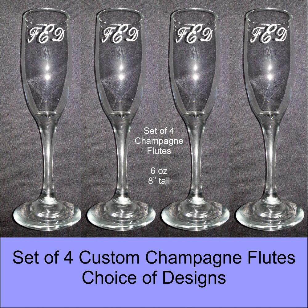 personalized custom wedding champagne flute glasses set of 4 choice of designs ebay. Black Bedroom Furniture Sets. Home Design Ideas