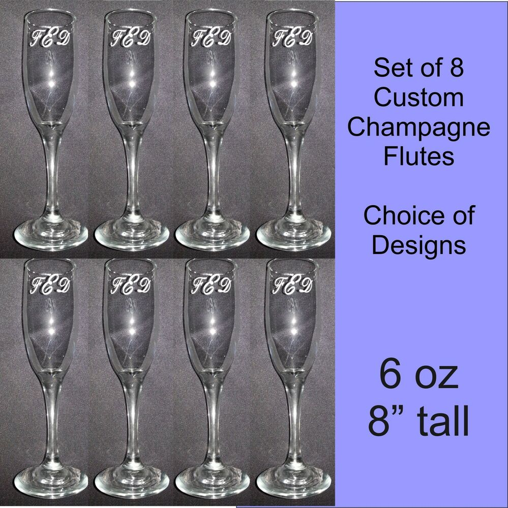 Personalized Custom Wedding Champagne Flute Glasses Set Of