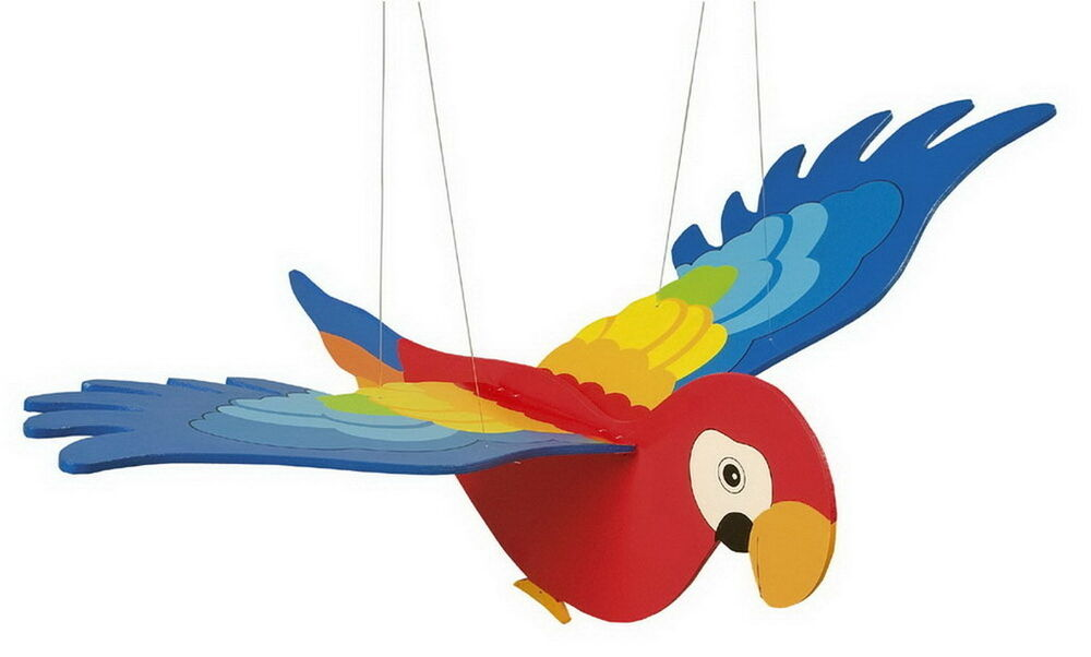 Flying Bird Toy : Large colourful wooden hanging flying flapping parrot bird