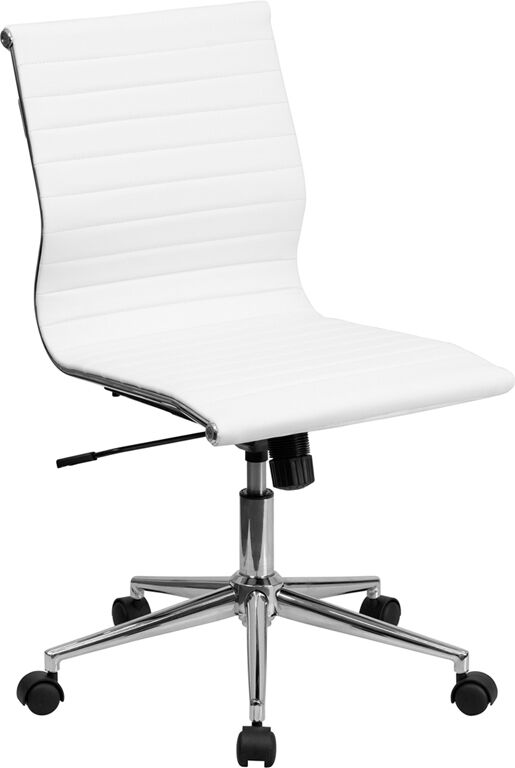 White Leather Conference Executive Computer Office Desk