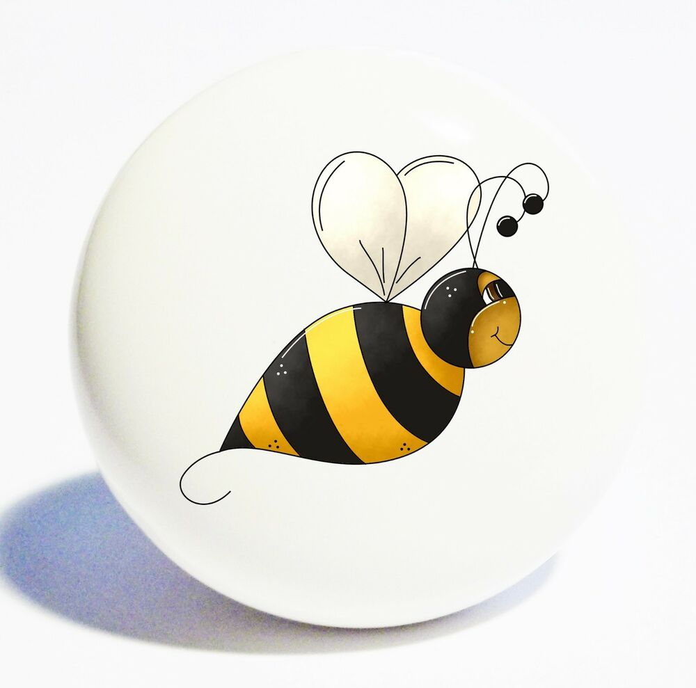 Bumble bee home decor ceramic kitchen knob drawer cabinet for Bumble bee mural