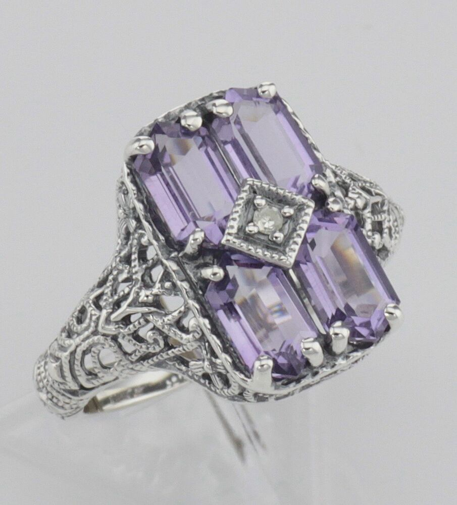 Antique Style Four Stone Amethyst Diamond Filigree Ring