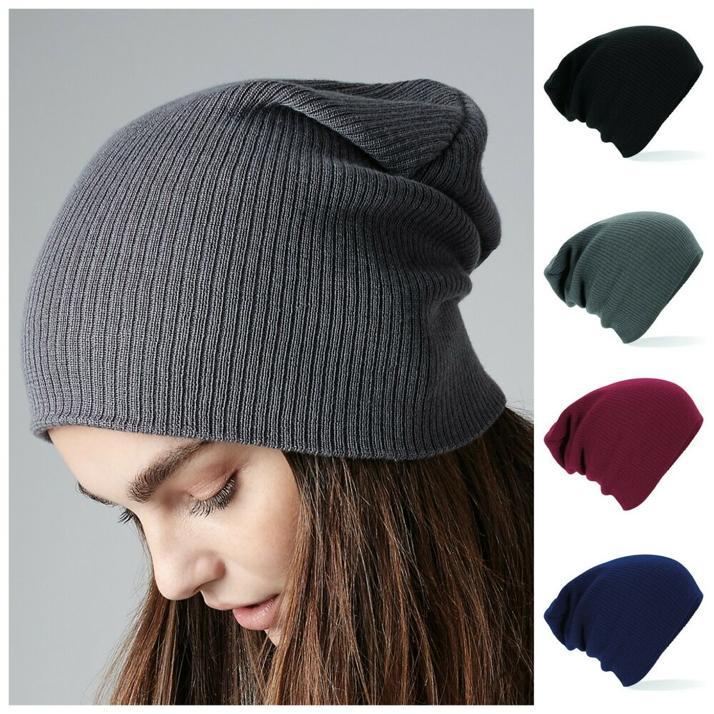 ce983281281a7 Details about Slouch Beanie Hat Slouchy Skate Beanie Woolly Knit Winter  Oversized Mens Womens